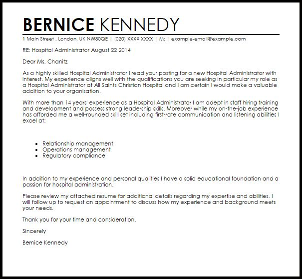 administrative cover letter template