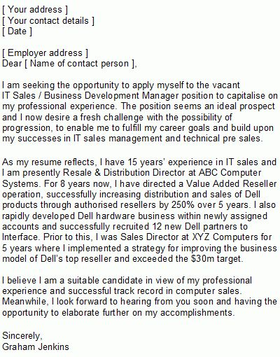 IT Sales Covering Letter Sample
