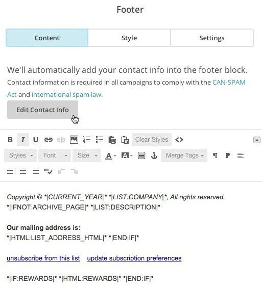 Customize Your Footer Content | MailChimp