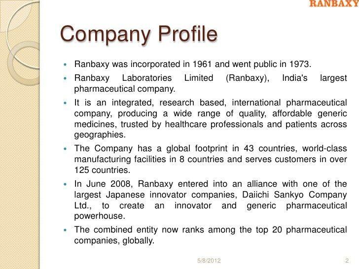 Ranbaxy company profile