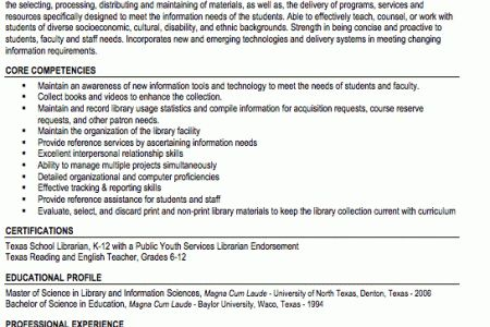 Sample Resume Of A Librarian - Reentrycorps