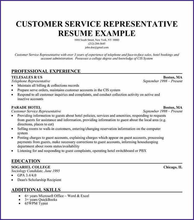 CUSTOMER SERVICE RESUME SAMPLE | letterproposaltemplate.com
