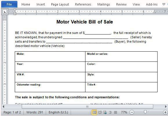 Motor Vehicle Bill of Sale Template for Word