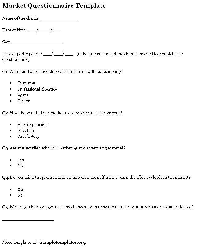 Questionnaire Template for Market, Template of Market ...