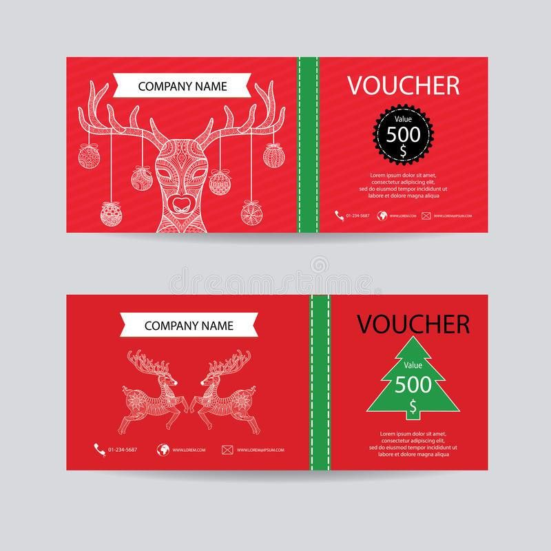 Christmas And New Year Gift Voucher Certificate Coupon Template ...