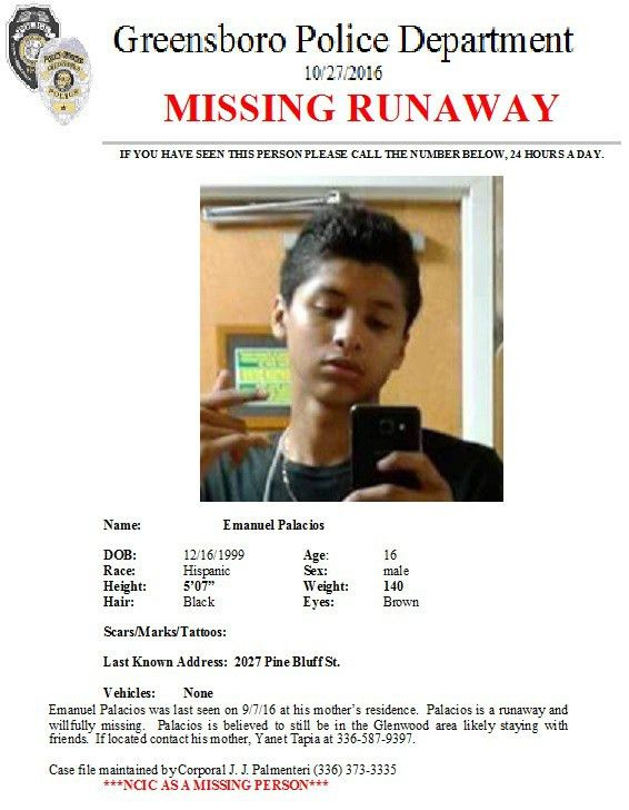 Missing Person Emanuel Palacios - Greensboro/Guilford Crime Stoppers