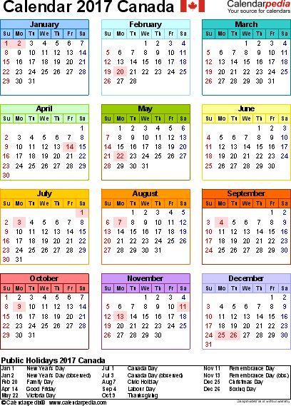 Canada Calendar 2017 - Free Word Calendar Templates