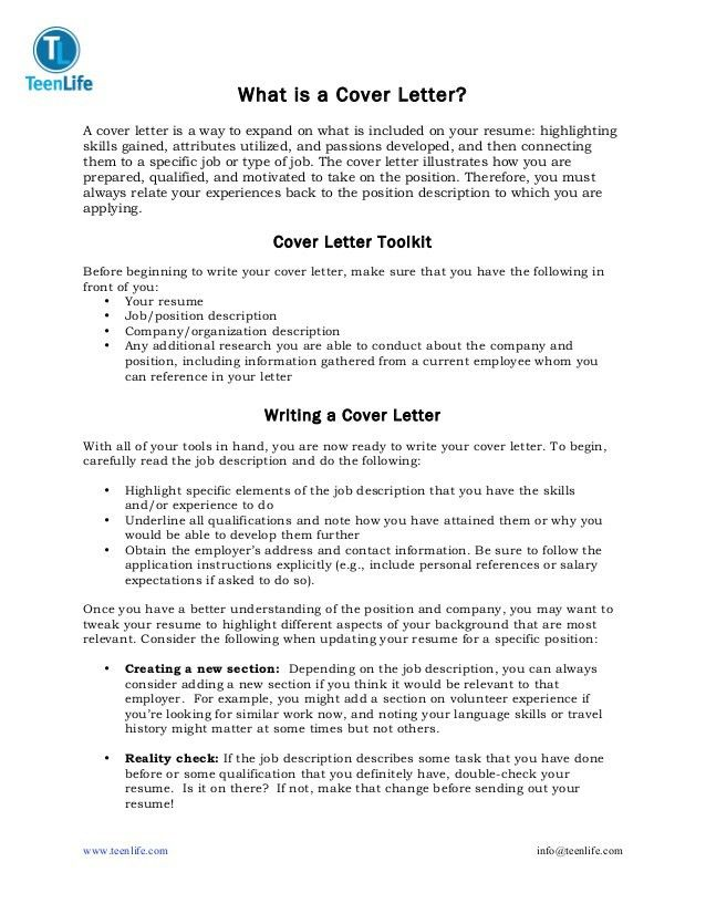 TeenLife Cover Letter Guide