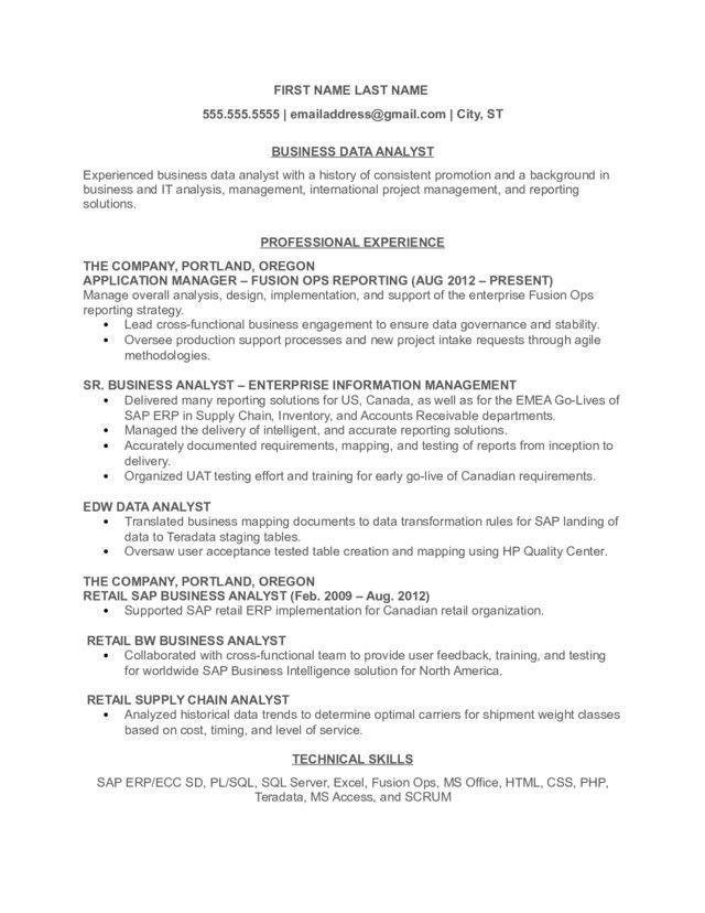 data analyst resume - Sample Data Analyst Resume