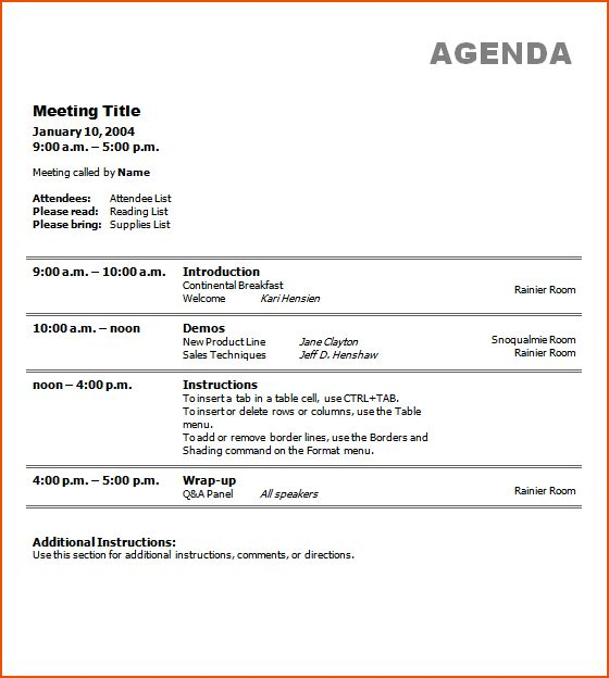 7+ free meeting agenda templates - bookletemplate.org