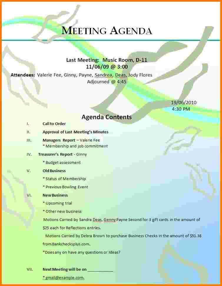 5 free agenda templates   Receipt Templates