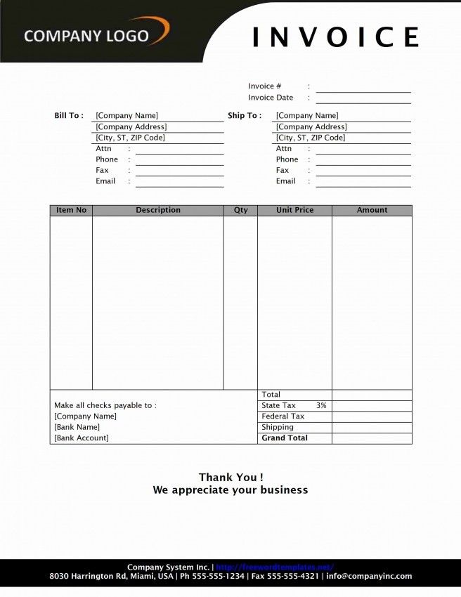 Simple Tax Invoice Template Word | Design Invoice Template