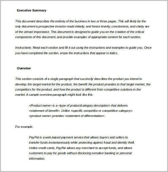 Executive Summary Example Template - Ecordura.com