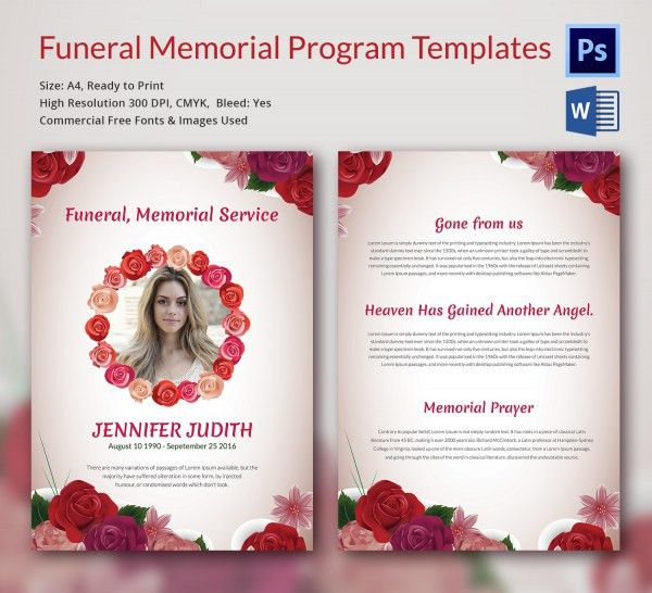 20+ Memorial Program Templates - Free PSD, AI, EPS Format Download ...