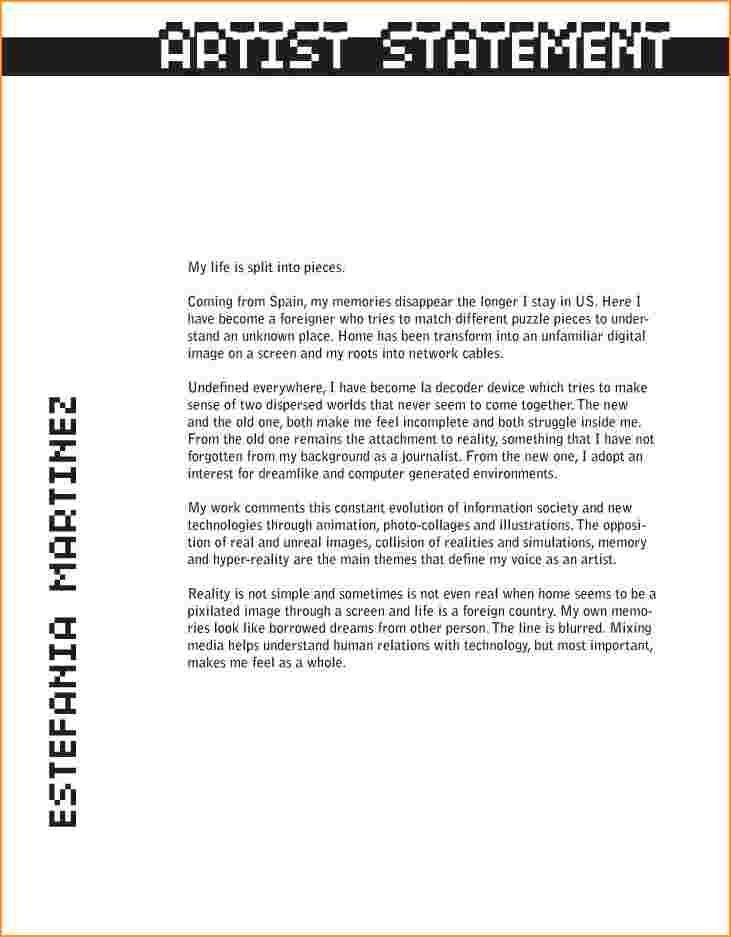 Artist Statements Examples.writing An Artist Statement Template ...
