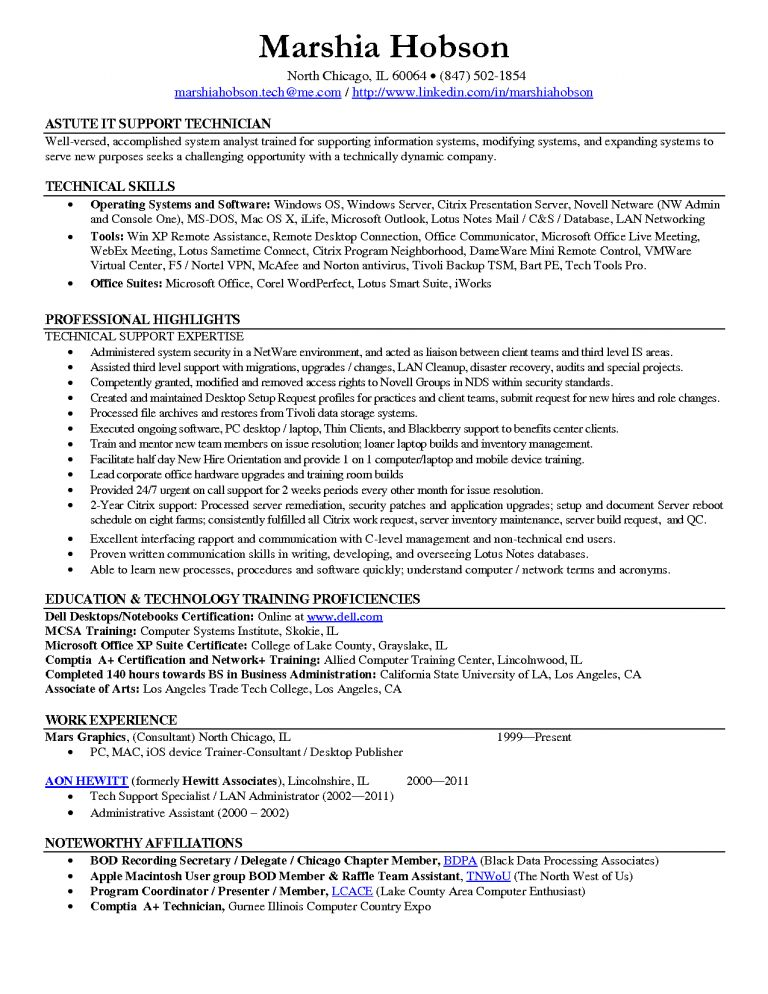 Awesome To Do Desktop Support Technician Resume 6 Format Support ...