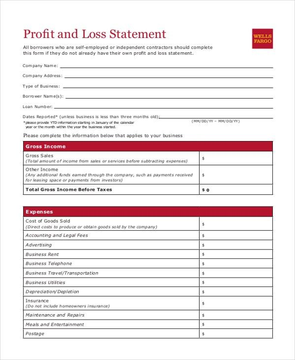 Sample Profit and Loss Statement Form - 8+ Free Documents in PDF, Xls