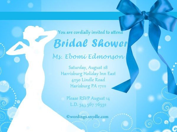 Wedding Shower Invitation Wording Samples - Wordings and Messages