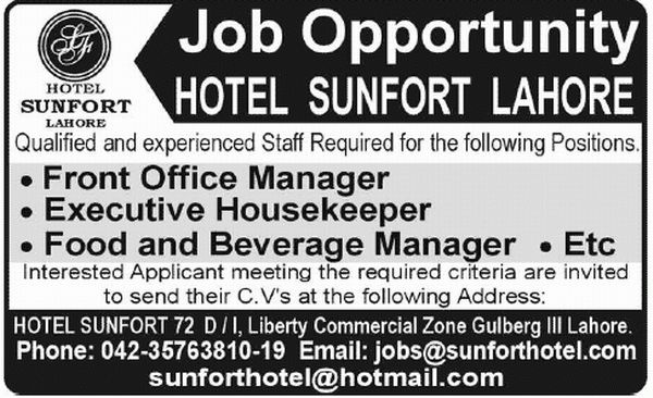 Front office Manager Job in Hotel Sunfort Lahore, Executive ...