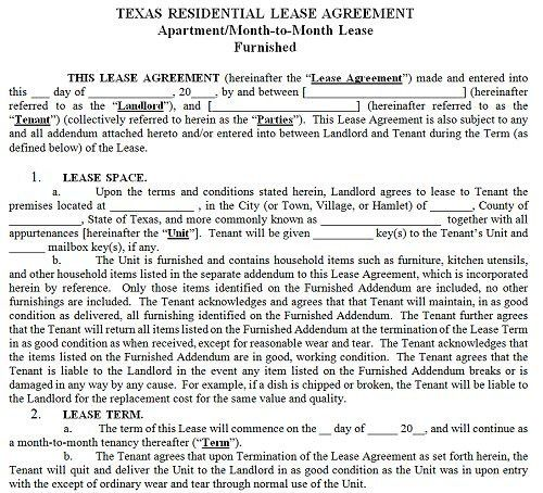 Sample Texas Residential Lease Agreement. Free Texas Residential ...