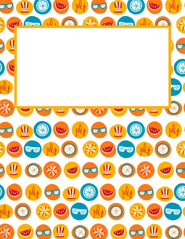 Free printable July binder cover template. Download the cover in ...