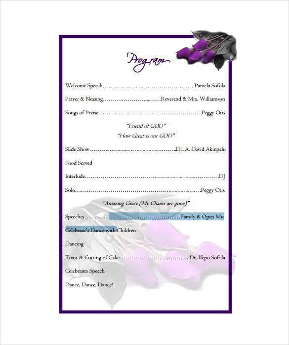 Birthday Program Template - 11+ Free Word, PDF, PSD, EPS, AI ...