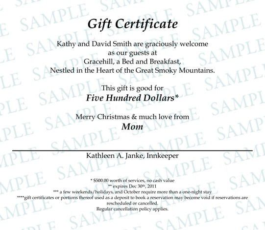 Gift Certificates - Gracehill Bed and Breakfast | Gracehill Bed ...