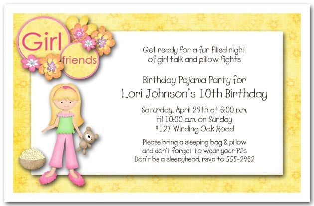 Slumber Party Invitation Wording – gangcraft.net