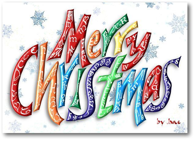 Merry Christmas Word Card - Calligraphy Arts