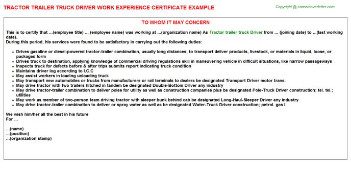 Tractor Trailer Truck Driver Work Experience Certificate