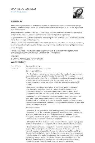 Design Director Resume samples - VisualCV resume samples database