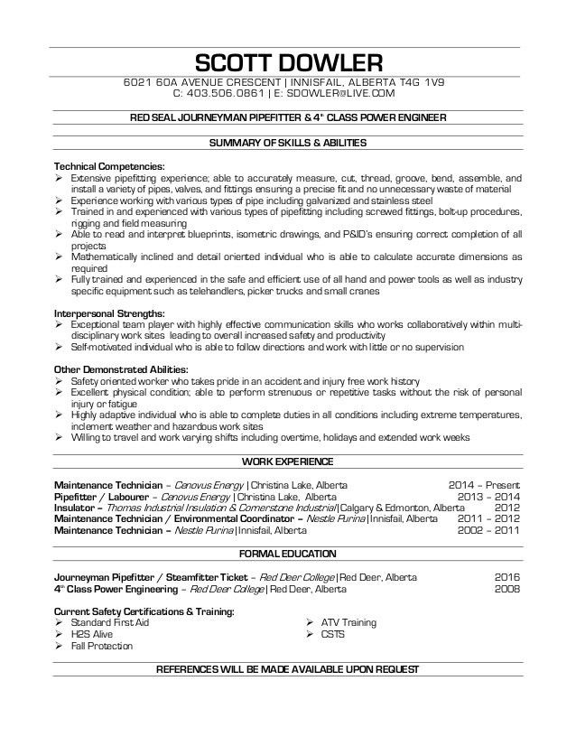 Dowler, Scott - Pipefitter Resume