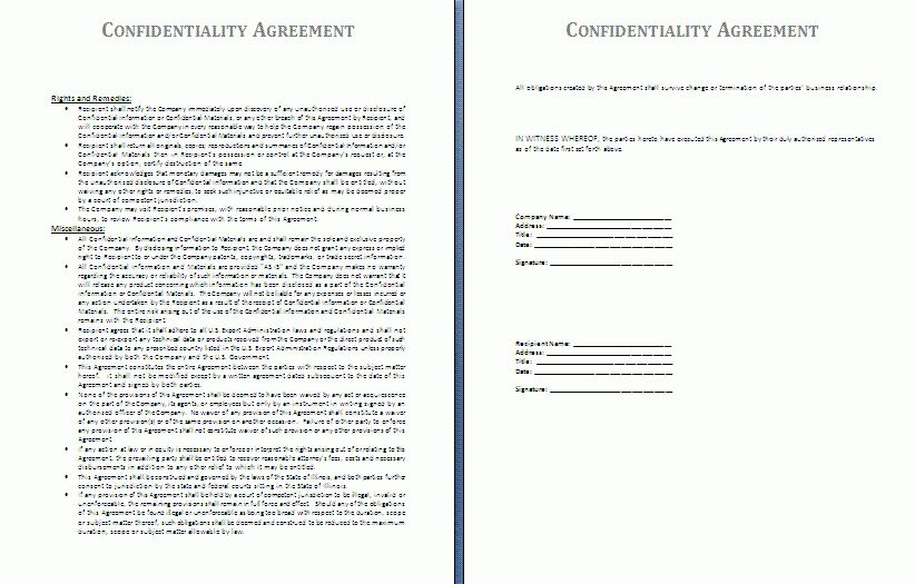 Confidentiality Agreement Template | Free Agreement Templates