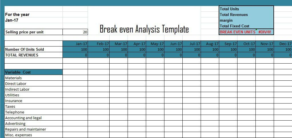 Break Even Analysis Template Excel (XLS) | Excel Project ...