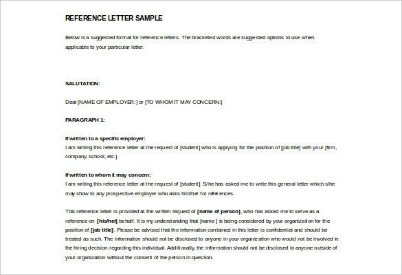 28 Reference Letter Template Free Sample Example Format Letter Of ...
