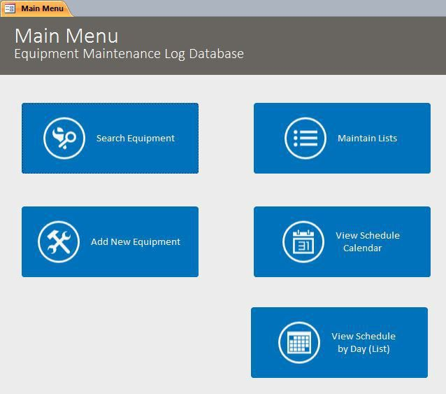 Microsoft Access Equipment Maintenance Log Tracking Database ...