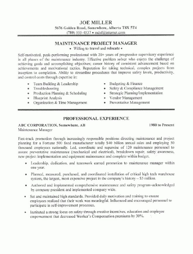 Maintenance Manager Resume Sample - All Trades Resume Writing Service