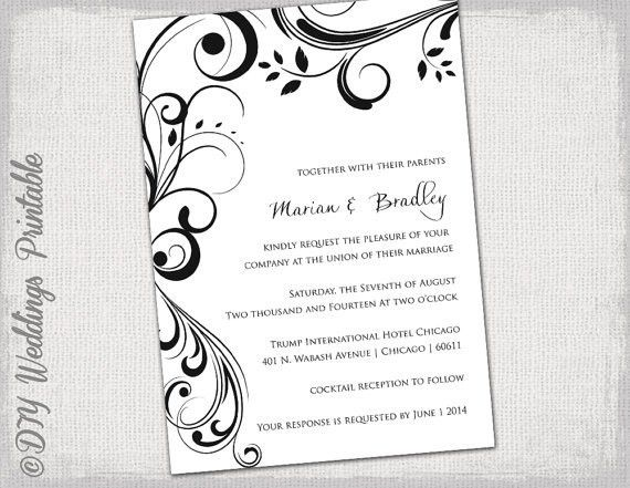 "Wedding invitation templates black and white ""Scroll"" invitations ..."