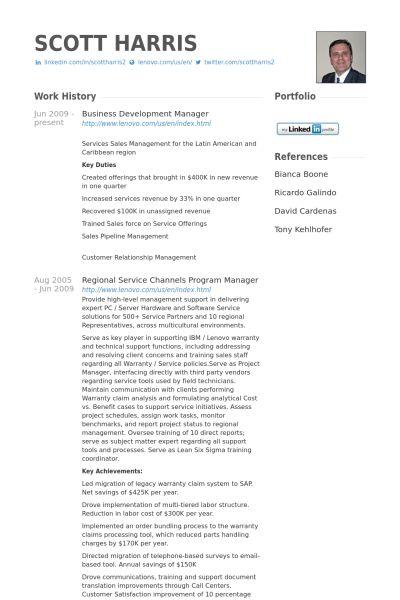 Business Development Manager Resume samples - VisualCV resume ...