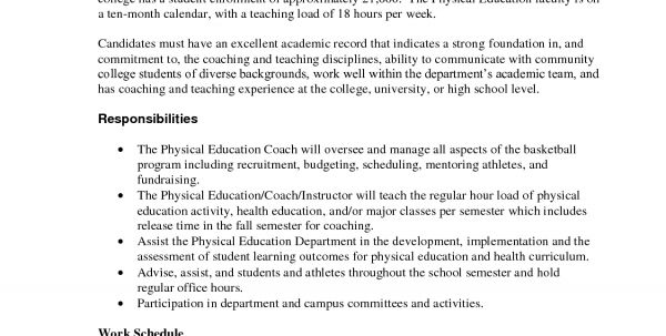 health and physical education resume. physical education teacher ...