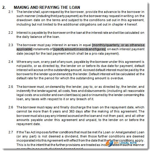 Division 7A, Div7a company loan agreement template