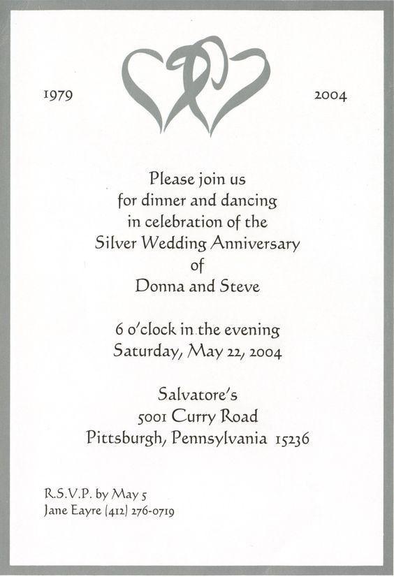 retro silver 2th wedding anniversary invitation card | 25th Silver ...