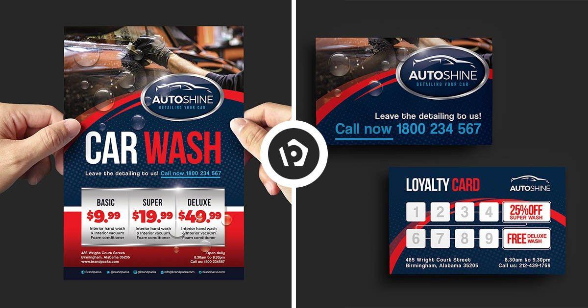 Free Car Wash Templates for Photoshop & Illustrator - BrandPacks