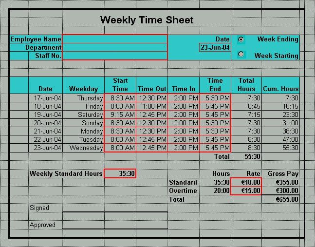 Excel Timesheet Templates | Excel Timesheets