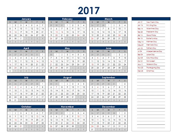 2017 Excel Yearly Calendar - Free Printable Templates