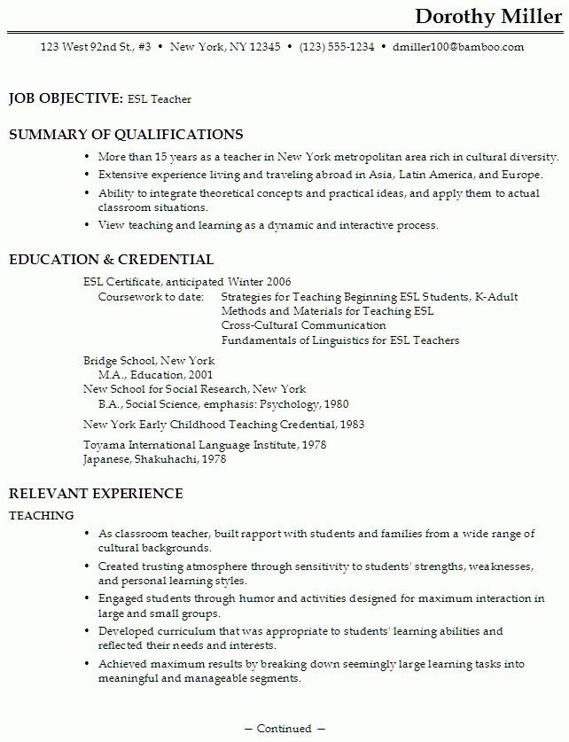 Example Of Teaching Resume. Sample Teacher Resume - Google Search ...