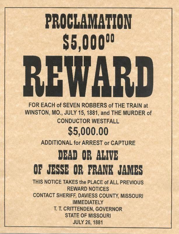Jesse or Frank James Reward Poster
