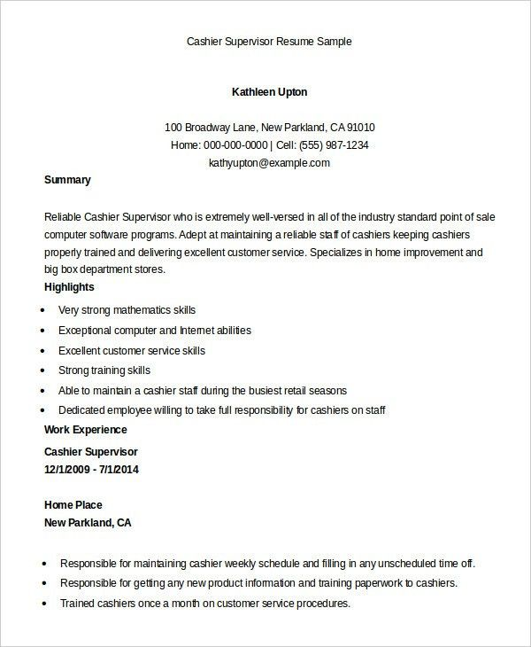 Cashier Resume Example - 6+ Free Word, PDF Documents Download ...