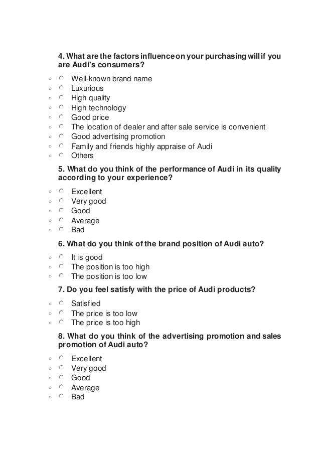 Audi Auto Market Survey Questionnaire