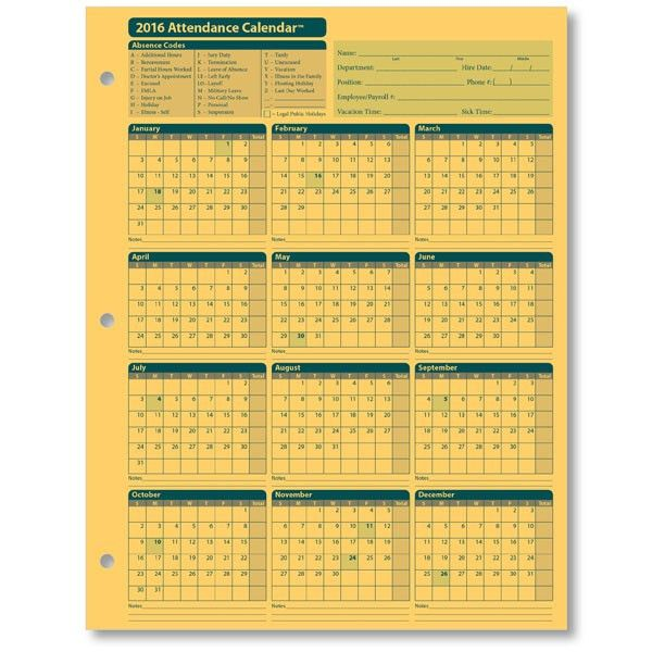Employee Attendance Calendar | Tracker Templates 2016